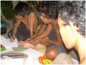 Kubu Children Studying