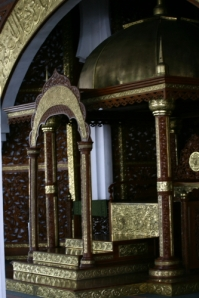The minbar, or the seat on which the imam (Islamic preacher) sits to deliver his sermons).