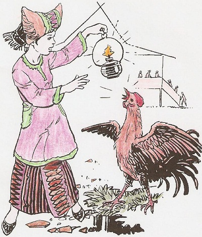 Putri Selera Pinang Masak, holding up a lamp to get the rooster to crow.