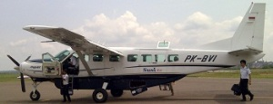 Plane used for flights between Jambi and Muara Bungo.Single prop 12 passenger Cessna 208 B Grand Caravan.