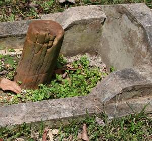 A piece of petrified wood is located in the grave of Panglima Hitam. It's doubtful that that wood was new when she was buried.