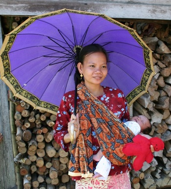 A young Batin woman and her baby.