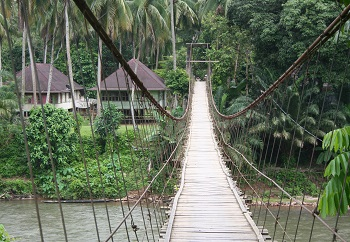 Swinging bridge in the Village of Teluk Kecimbung, where parts of this legend took place.